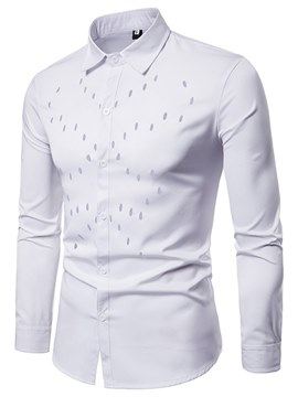 Ericdress Plain Slim Fitted Button Up Mens Hollow Dress Shirts