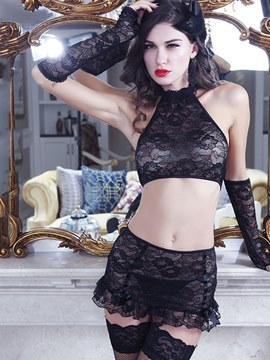 Ericdress Halter See-Through Transparent Lace Costume 5 Pieces