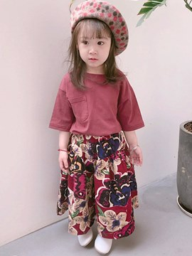 Ericdress Plain T Shirts & Floral Pants Baby Girl's Casual Outfits