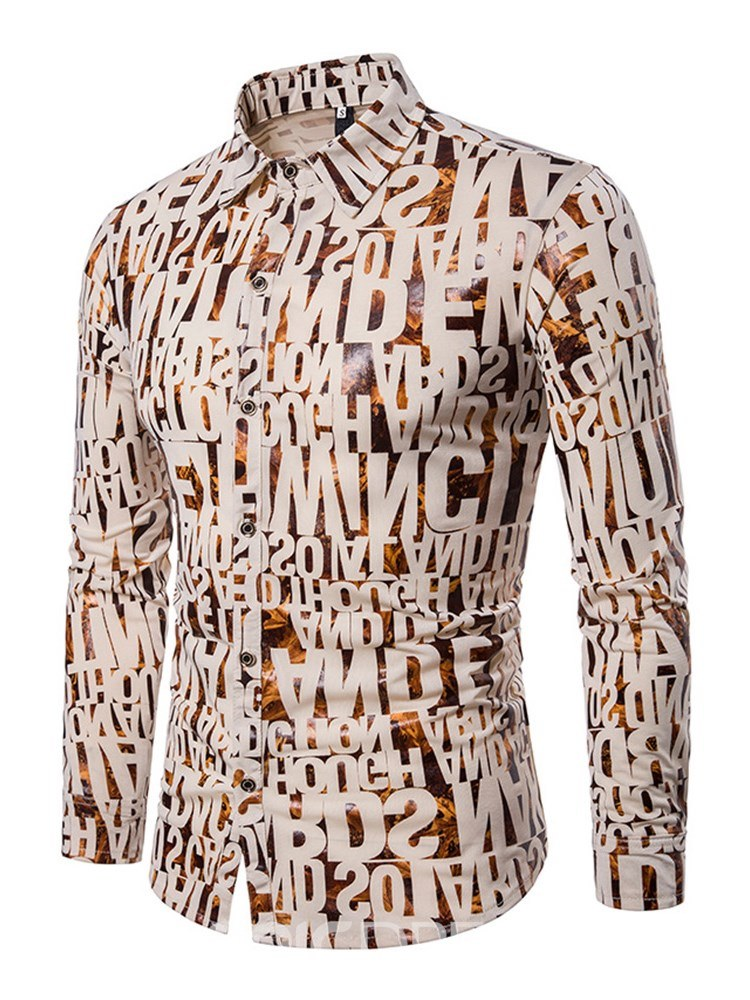Ericdress Letter Printed Slim Fit Mens Casual Button Up Shirts