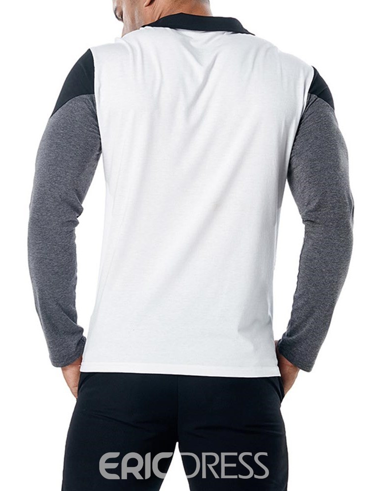Ericdress Color Block Slim Mens Casual Long Sleeve Polo T Shirts