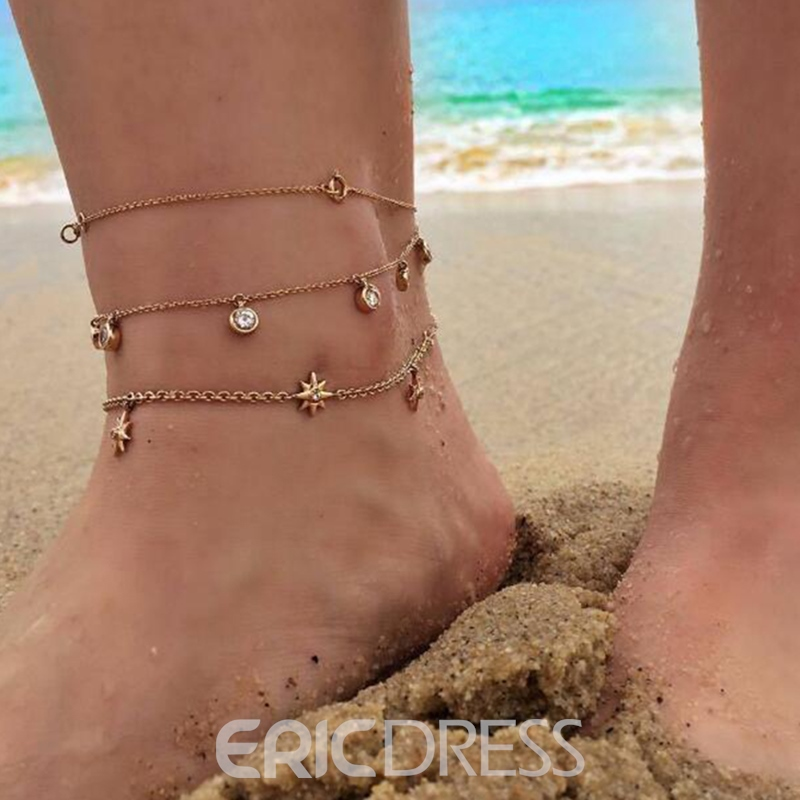 Ericdress Three Layers Diamante Exquisite Anklet For Women