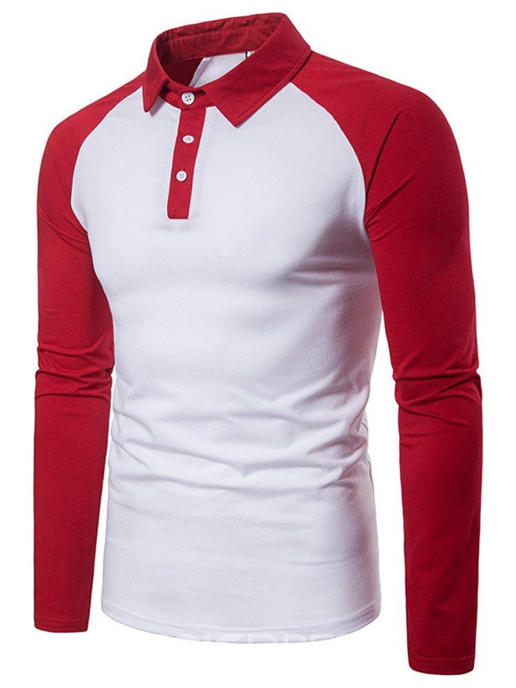 Ericdress Patchwork Slim Fit Mens Casual Long Sleeve Polo T Shirts