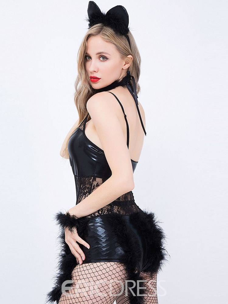 Ericdress Plain Lace-Up Sexy Catwoman Costume