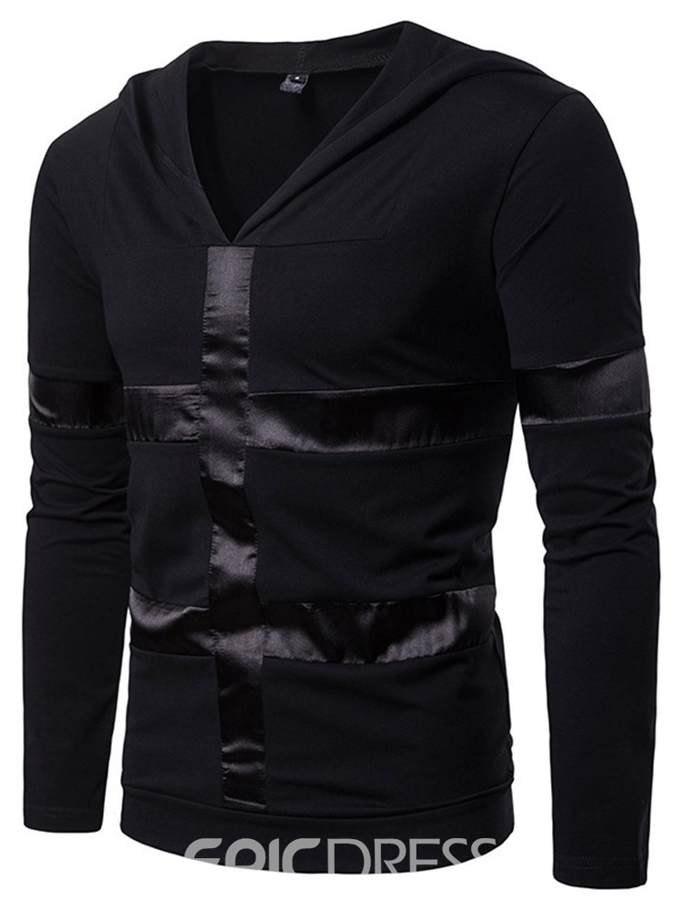 Ericdress Striped Hooded V-Neck Mens Casual T Shirts