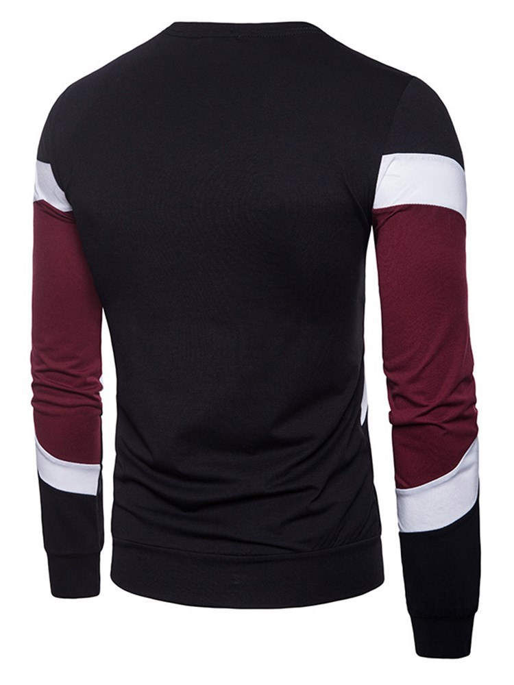 Ericdress Color Block Patchwork Scoop Mens Long Sleeve Casual T Shirts