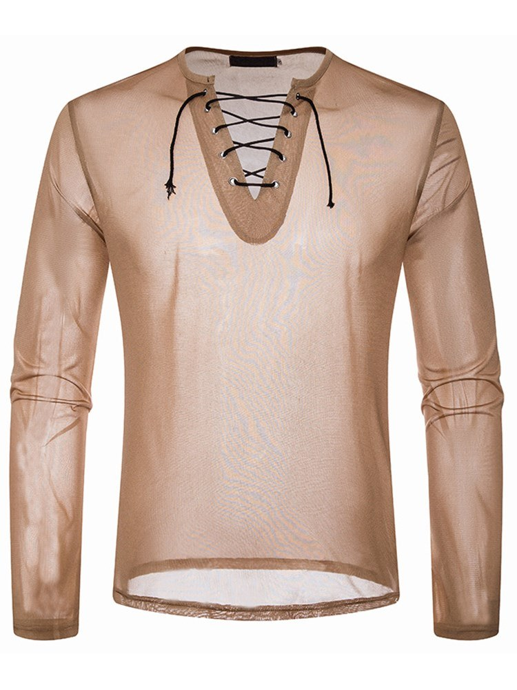 Ericdress V-Neck Plain Lace Up Long Sleeve Mens Sexy T Shirts