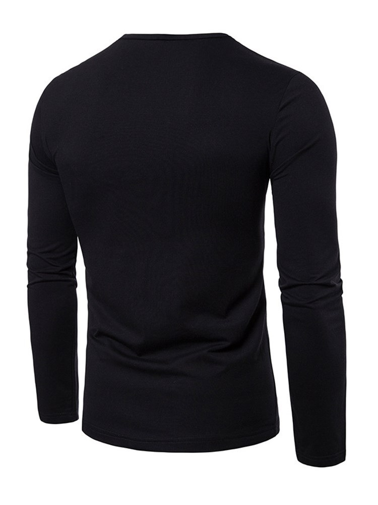 Ericdress Color Block Long Sleeve Scoop Mens Caasual T Shirts