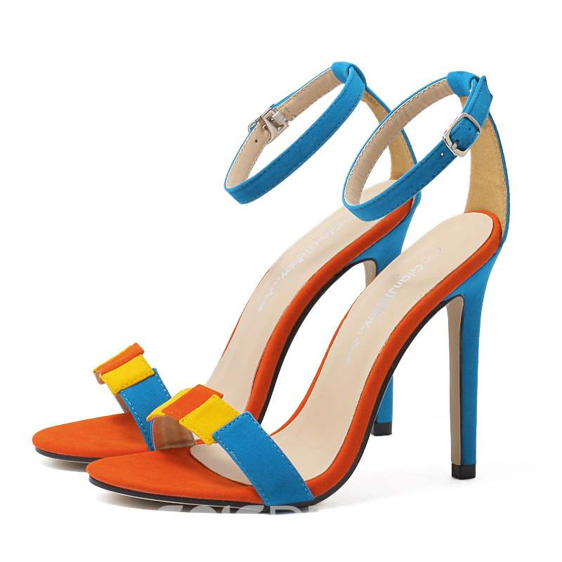 Ericdress Suede Line-Style Buckle Color Block Stiletto Sandals