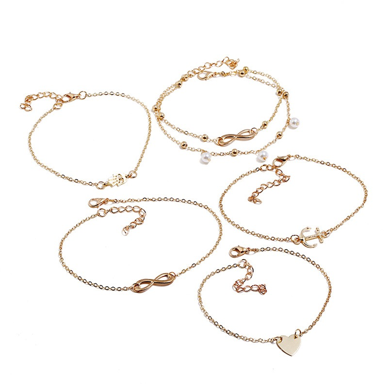 Ericdress Heart Pearl Anklet