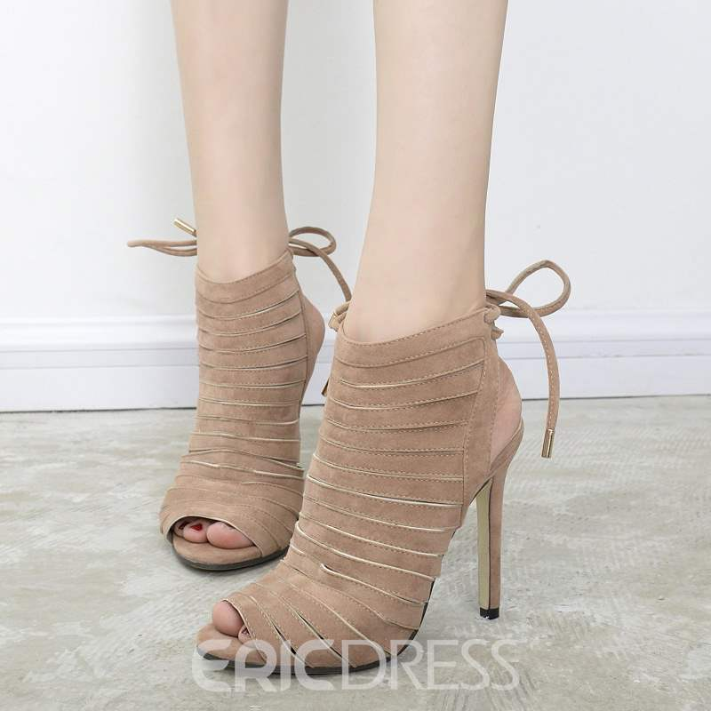 Ericdress Hollow Strappy Lace-UpPeep Toe Stiletto Sandals