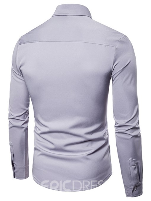 Ericdress Plain Slim Fitted Hollow Button Up Mens Casual Dress Shirts