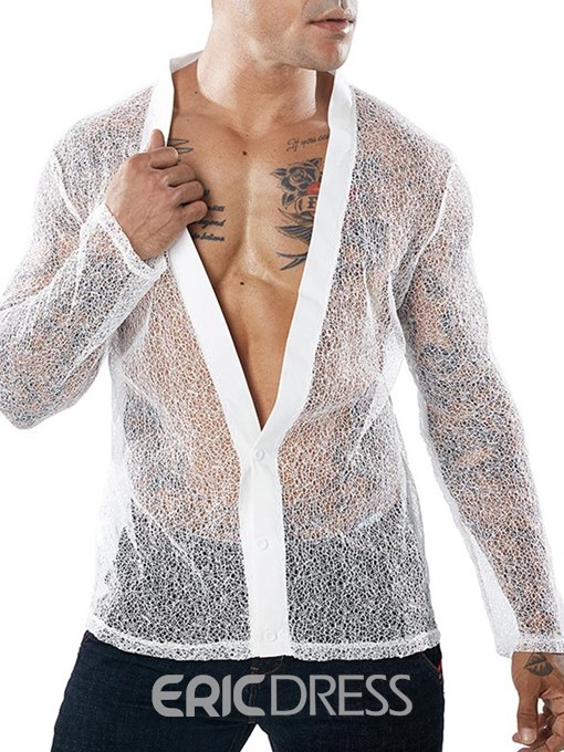 Ericdress Deep V-Neck See-Through Mens Sexy Party Shirts