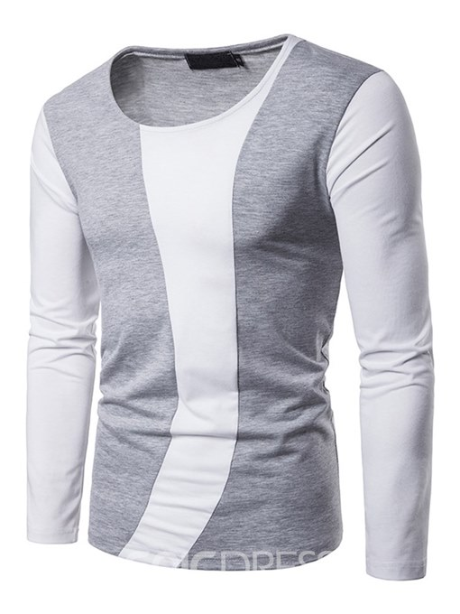 Ericdress Color Block Scoop Straight Long Sleeve Mens Casual T Shirts