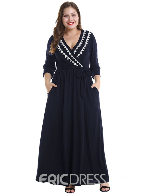 Ericdress Plus Size Ankle-Length Nine Points Sleeve Pocket Pullover Casual Dress