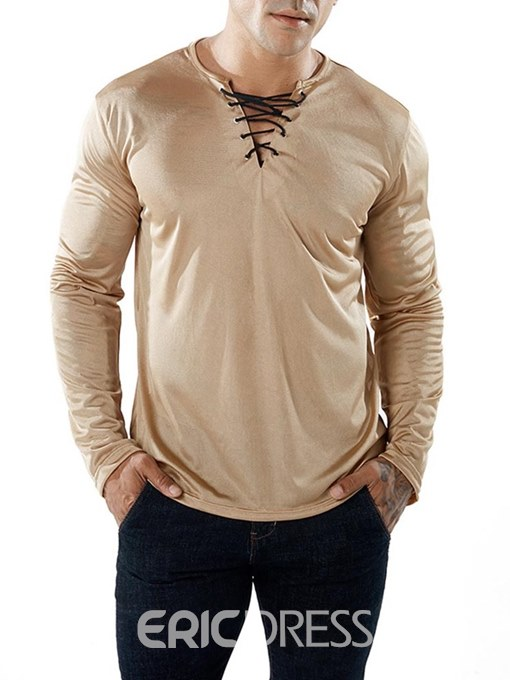 Ericdress V-Neck Plain Lace Up Mens Sexy T Shirts