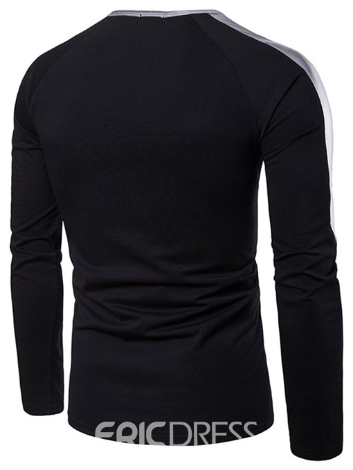 Ericdress Patchwork Plain Unique Mens Casual Sexy Long Sleeve T Shirts