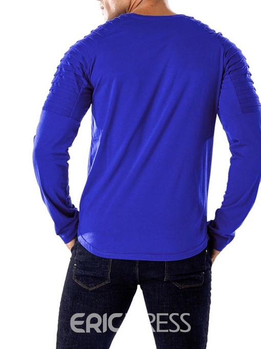 Ericdress Striped Patchwork Long Sleeve Scoop Mens Casual T Shirts
