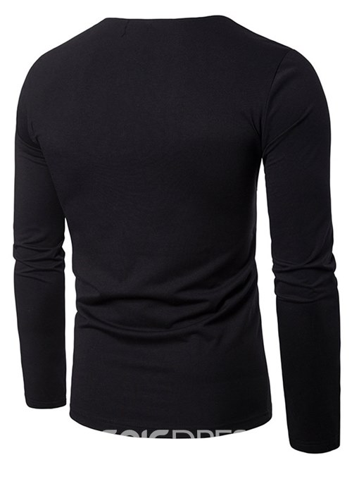 Ericdress Patchwork V-Neck Long Sleeve Mens Casual T Shirts