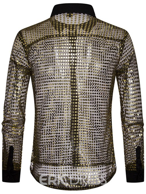 Ericdress Sequins See Through Slim Plain Mens Party Sexy Shirts