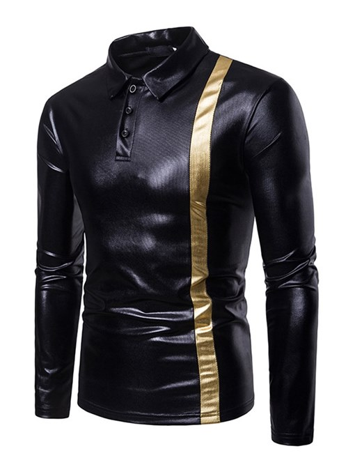 Ericdress Patchwork Slim Fit Quarter Button Mens Casual Ball T Shirts