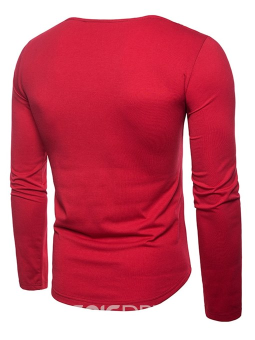 Ericdress Patchwork Scoop Mens Casual Long Sleeve T Shirts
