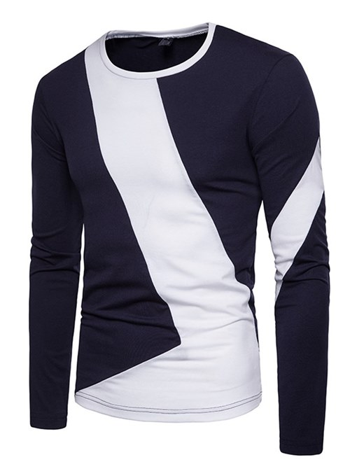 Ericdress Color Block Straight Scoop Mens Long Sleeve Casual T Shirts