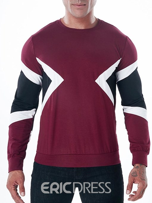 Ericdress Color Block Patchwork Scoop Mens Casual T Shirts