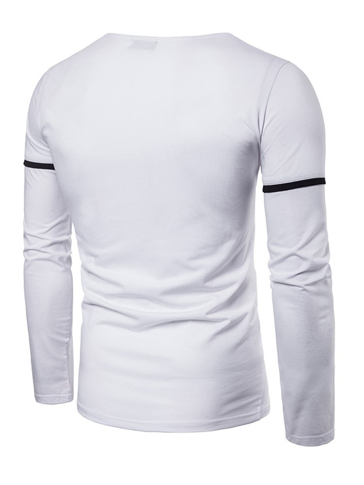 Ericdress Plain Striped Unique Neck Mens Long Sleeve T Shirts