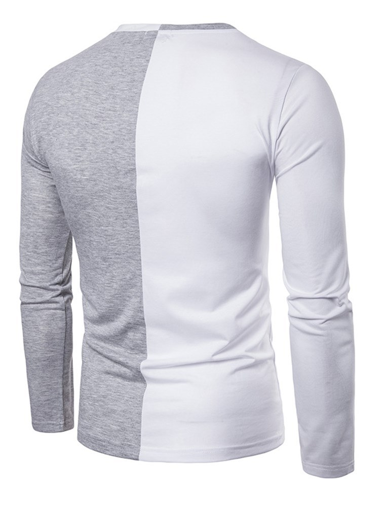 Ericdress V-Neck Color Block Long Sleeve Mens Casual T Shirts