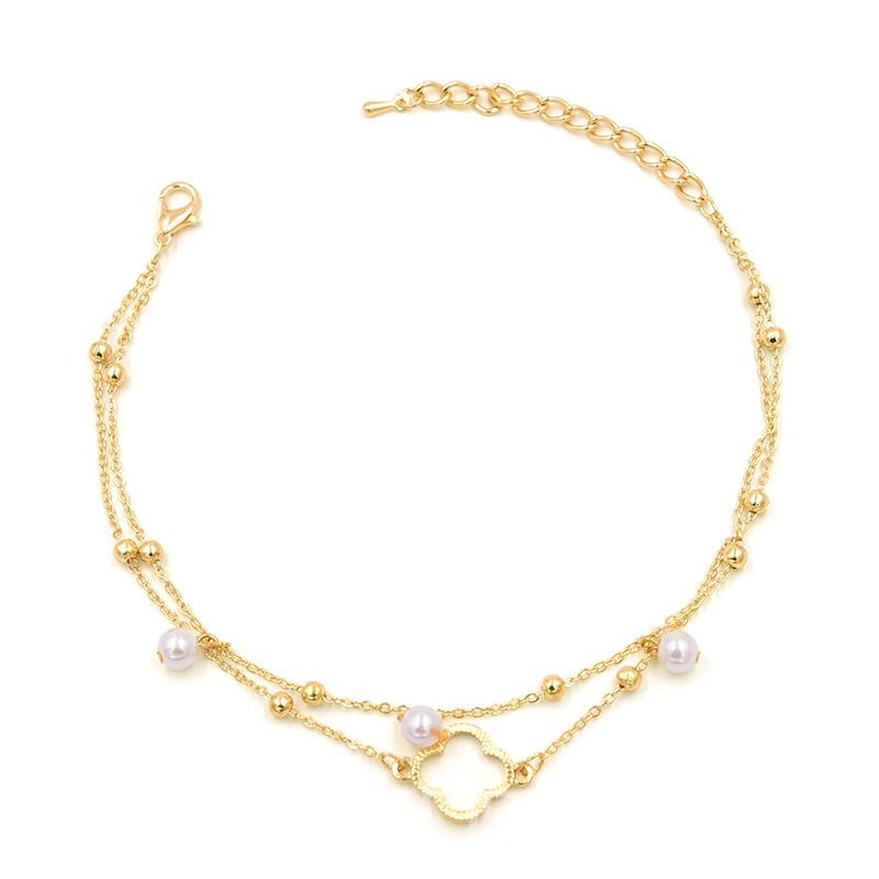 Ericdress Pearl Clover Anklet
