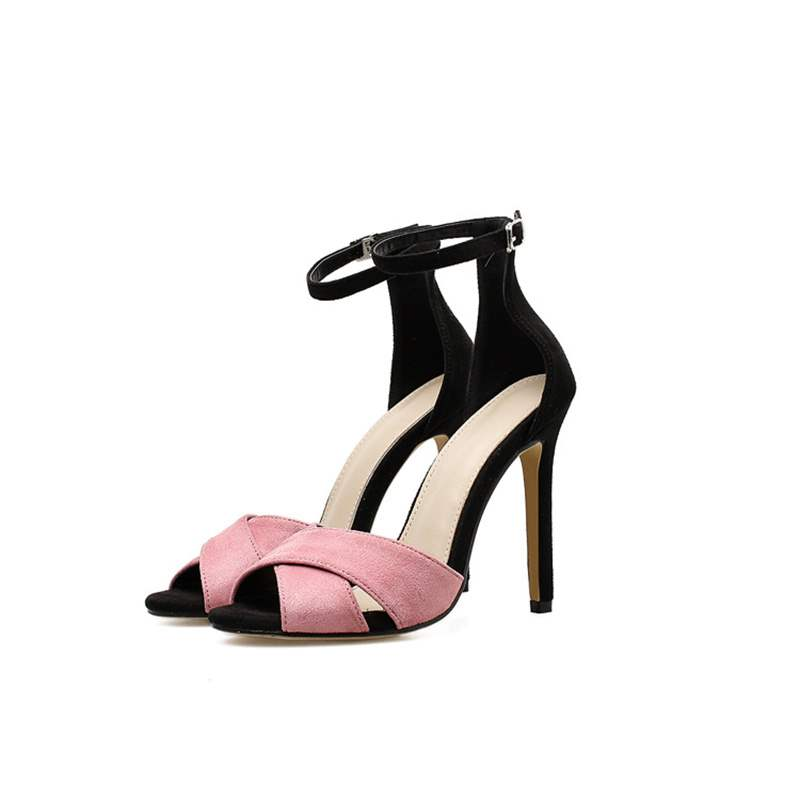Ericdress Suede Color BlockPeep Toe Stiletto Sandals