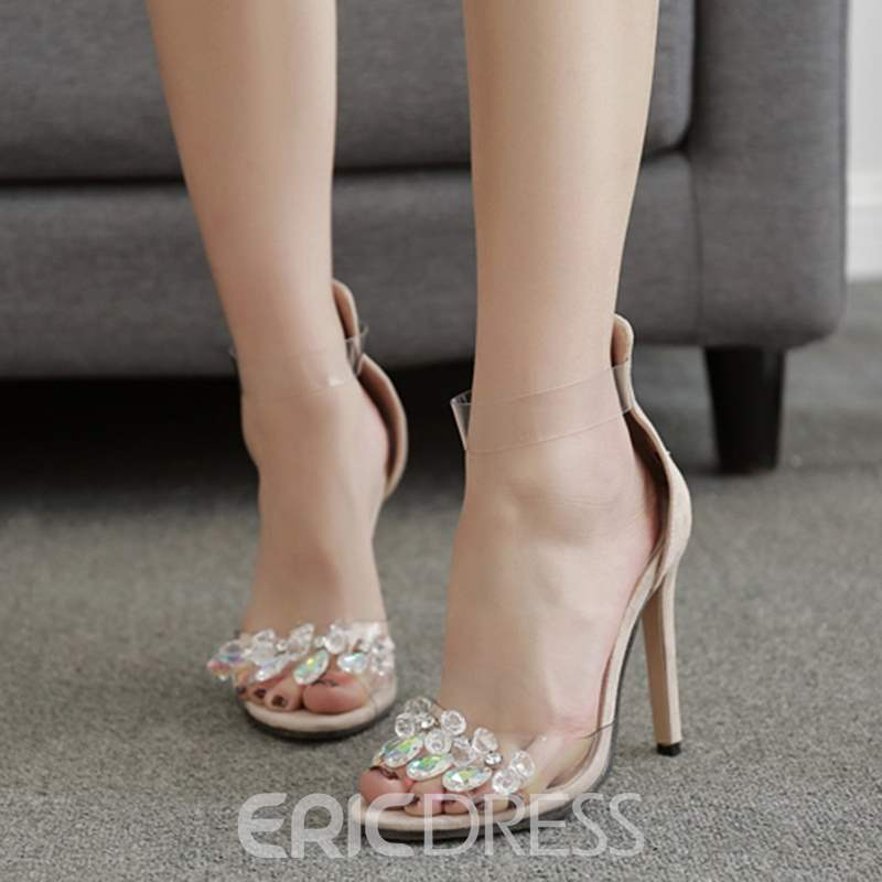 Ericdress Rhinestone Patchwork Plain Stiletto Sandals