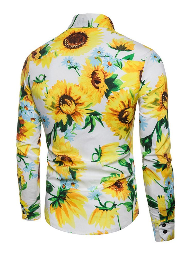 Ericdress Sunflower Printed Slim Button Up Mens Casual Shirts