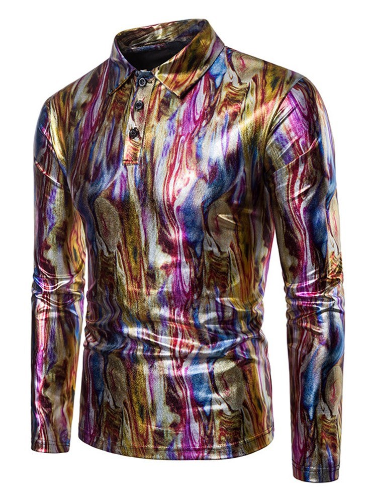 Ericdress Striped Printed Slim Fitted Quarter Button Mens Casual Ball T Shirts