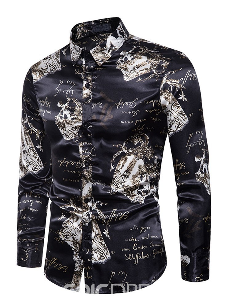 Ericdress Black Printed Slim Fit Mens Casual Ball Shirts