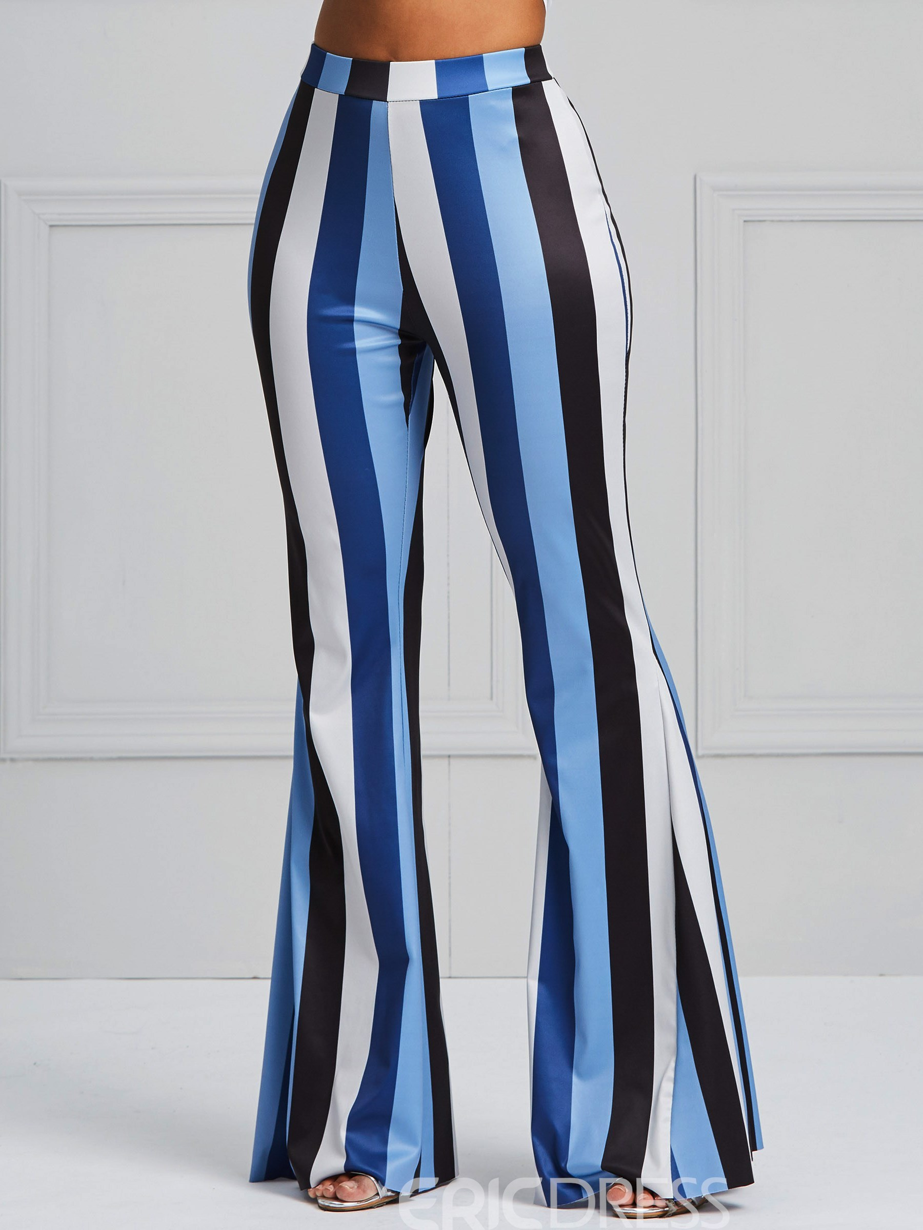 Ericdress Flared Vertical Striped Color Block Women's Pants