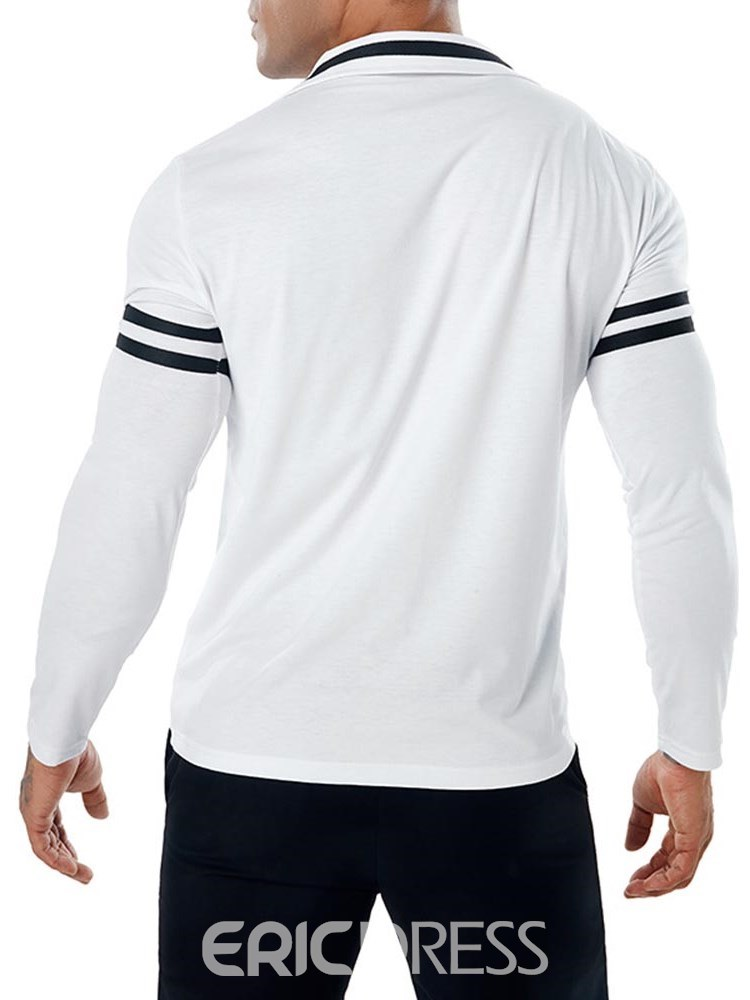 Ericdress Ptachwork Color Block Long Sleeve Mens V-Neck Polo T Shirts