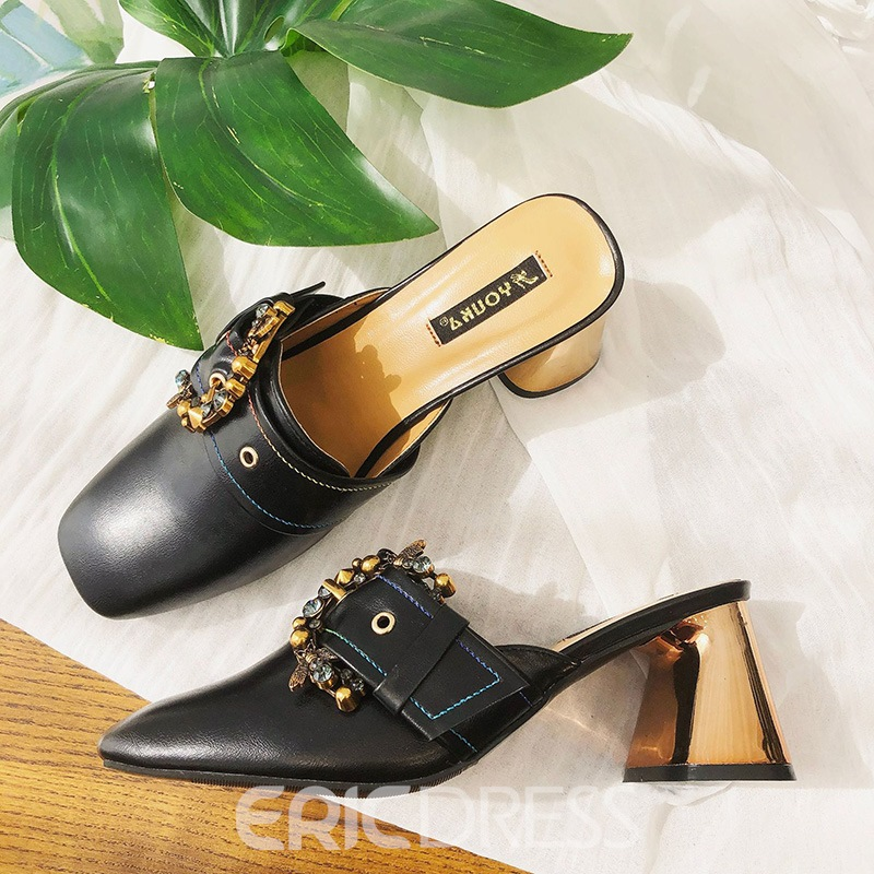 EricdressRhinestone Buckle Slip-On Black Pointed Toe Mules