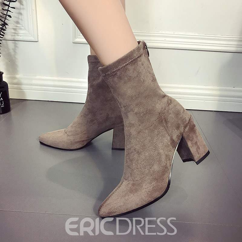 Ericdress Suede Chunky Heel Pointed Toe Ankle Boots