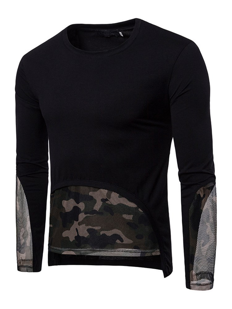 Ericdress Camouflage Color Block Long Sleeve Mens Scoop T Shirts