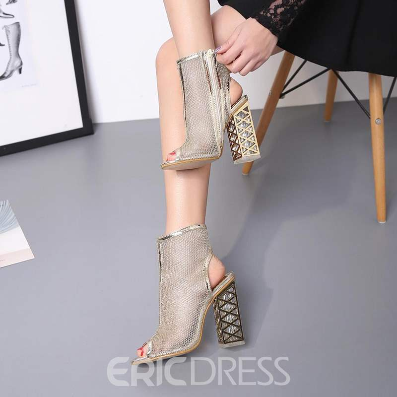 Ericdress Hollow Mesh Strappy Peep Toe Chunky Sandals