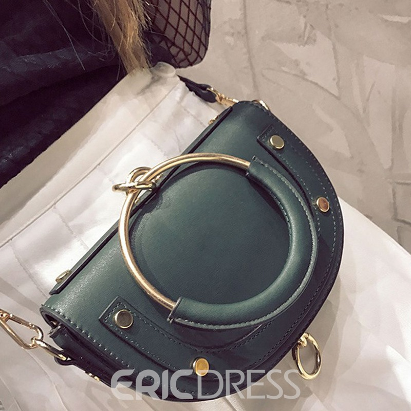 Plain Casual Belt Decorated Women Saddle Bag