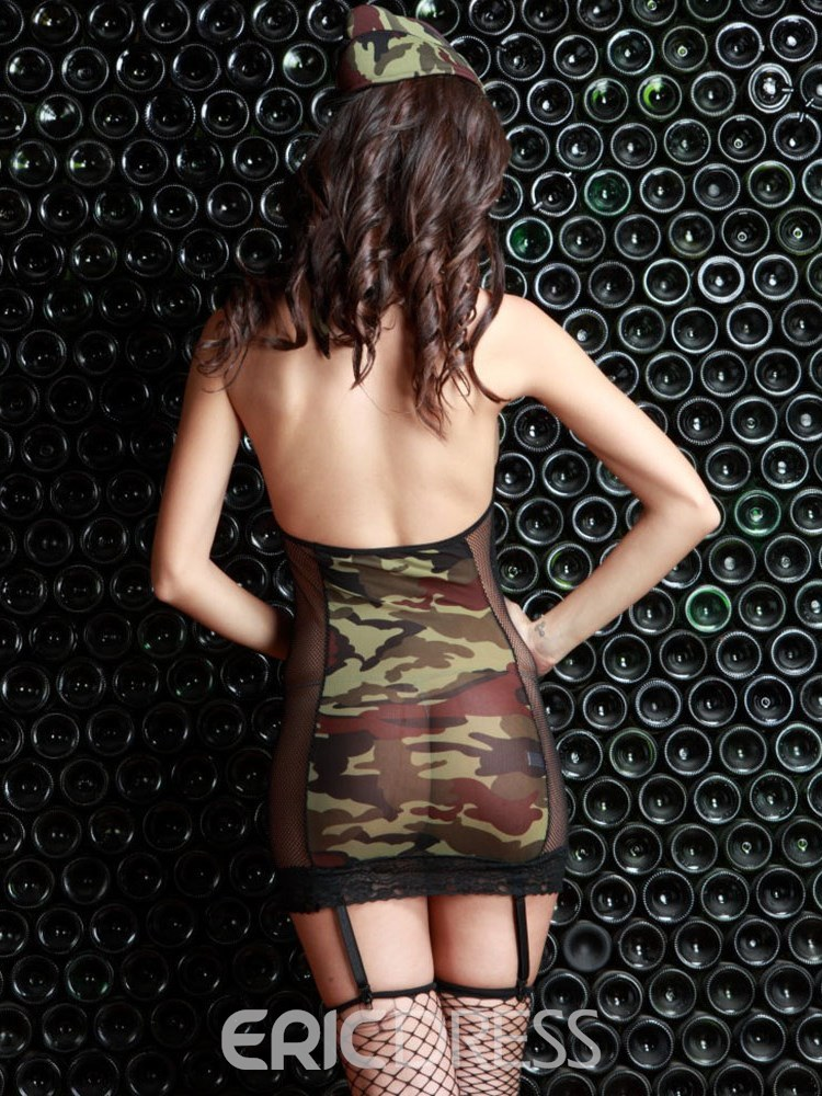 Ericdress Halter See-Through Camouflage Military Costume
