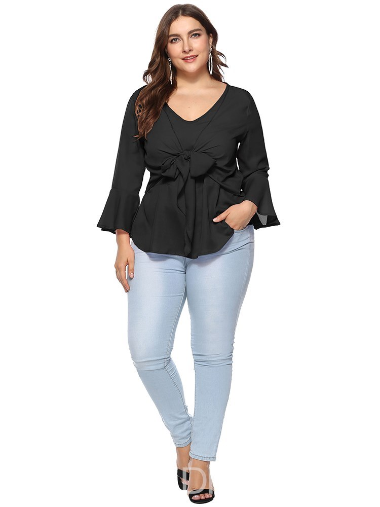 Ericdress V-Neck Tunic Plain Casual Plus-Size Long Sleeve Blouse