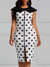 Ericdress Bodycon Polka Dots Zipper Women's Dress