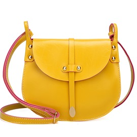 Korean Style Belt Decorated Women Saddle Bag