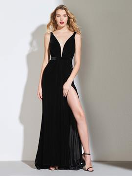 Ericdress Sheath Backless Black Evening Dress With Split Side