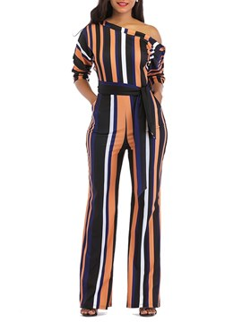 Ericdress Stripe Color Block Lace-Up Women's Jumpsuits