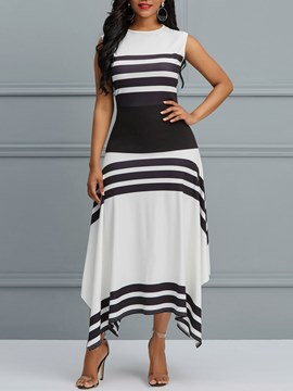 Ericdress Asymmetrical Stripe Sleeveless Women's Dress